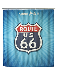 1 Anti mould shower curtain Vintage Route 200x260 - Anti-mould shower curtain Vintage Route 66