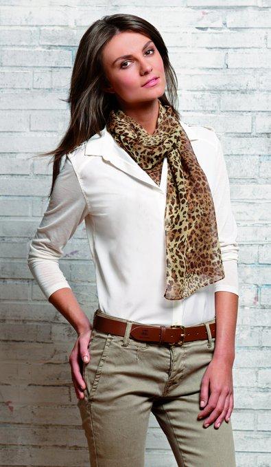 3 Damen Ledergürtel mit Schal braun 395x679 - Route 66 - Ladies leather belt and scarf