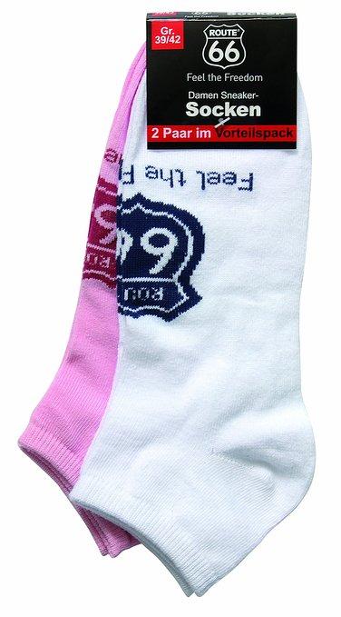 3 Damen und Herren Sneakersocken 2er Pack weiss rosa 376x679 - ROUTE 66 - Damen- und Herren Sneakersocken 2er Pack
