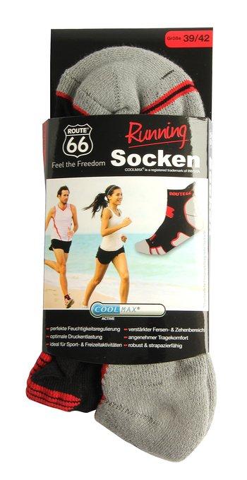 3 Running Socken grau schwarz rot 350x679 - Route 66 - Running Socken
