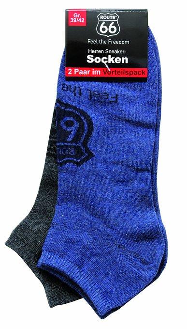 4 Damen und Herren Sneakersocken 2er Pack grau blau 387x679 - ROUTE 66 - Damen- und Herren Sneakersocken 2er Pack
