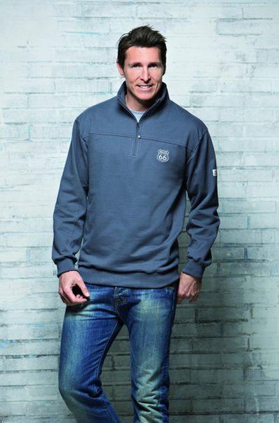 7 Collage Sweatshirt Troyer grau 990x1500 400x606 - ROUTE 66 - Collage Sweatshirt / Troyer