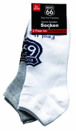 10 2 250x428 - ROUTE 66 - Damen- und Herren Sneakersocken 2er Pack