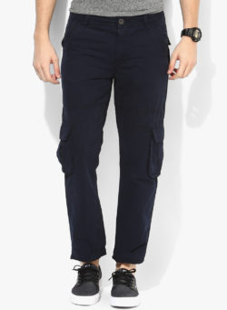 27 250x341 - Route 66 Navy Blue Slim Fit Cargos