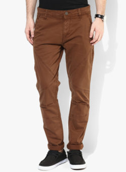 31 250x341 - Route 66 Brown Solid Skinny Fit Chinos