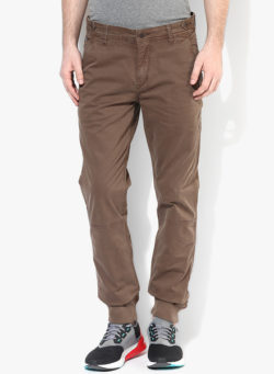 32 250x341 - Route 66 Brown Solid Slim Fit Chinos