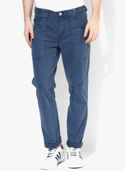 37 400x545 - Route 66 Blue Solid Slim Fit Chinos