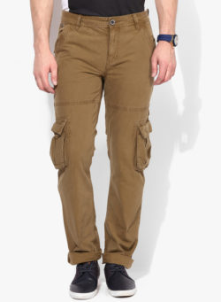 40 250x341 - Route 66 Brown Solid Slim Fit Cargos