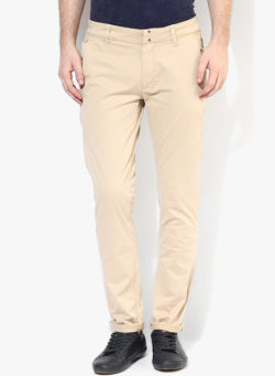 44 1 250x341 - Route 66 Beige Solid Skinny Fit Chinos