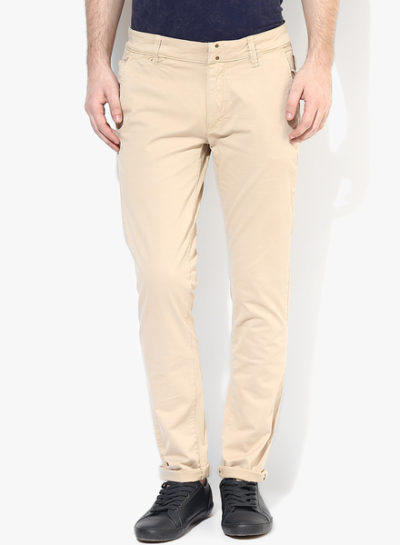 44 1 400x545 - Route 66 Beige Solid Skinny Fit Chinos