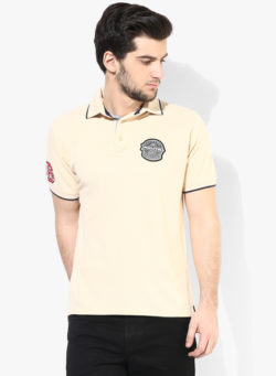 46 250x341 - Route 66 Cream Solid Regular Fit Polo T-Shirt