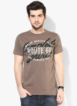48 250x341 - Route 66 Brown Printed Regular Fit Round Neck T-Shirt