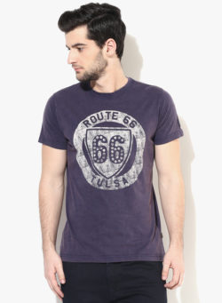 49 250x341 - Route 66 Navy Blue Printed Round Neck T-Shirt