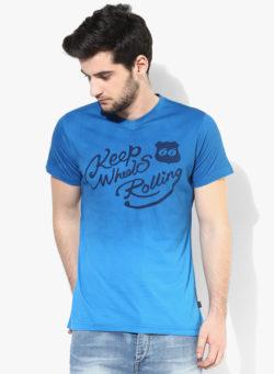 50 250x341 - Route 66 Blue Printed V Neck T-Shirt