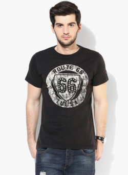 52 250x341 - Route 66 Black Printed Round Neck T-Shirt