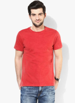 55 1 250x341 - Route 66 Red Solid Round Neck T-Shirt