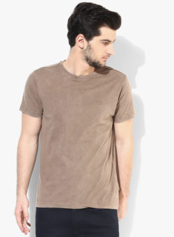 56 250x341 - Route 66 Brown Solid Round Neck T-Shirt