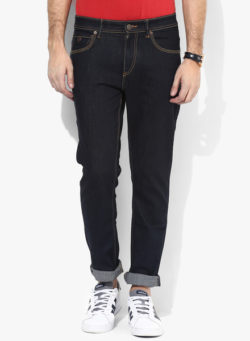 60 250x341 - Route 66 Navy Blue Solid Slim Fit Jeans