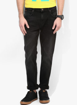 66 1 250x341 - Route 66 Black Solid Regular Fit Jeans