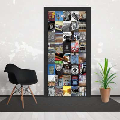 h1 400x400 - 1Wall Route66 USA Collaged 3 Piece Door Mural 95cm x 210cm